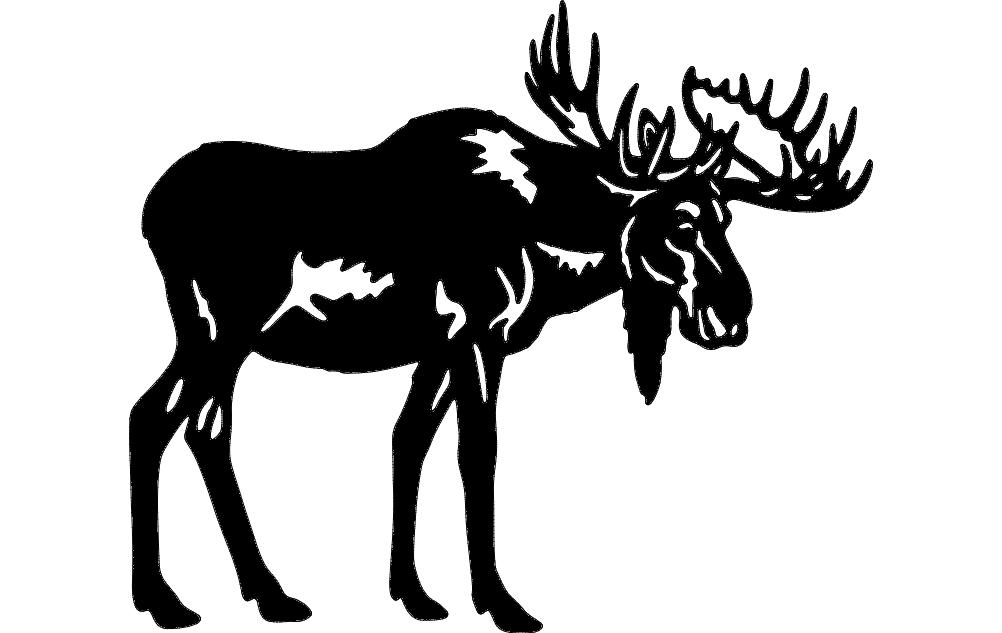 Bull Moose Silhouette Free DXF File
