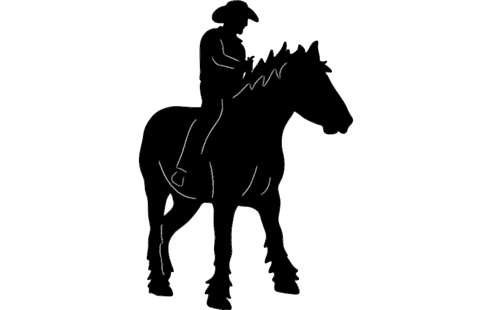 Cowboy On Horse 2 Silhouette Free DXF File
