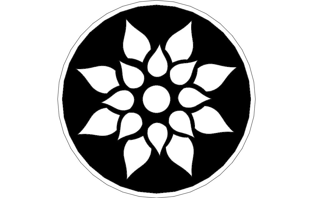 Floral Flower Design Free DXF File
