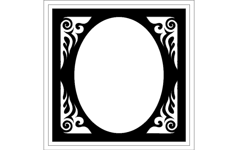 Frame Oval Free DXF File