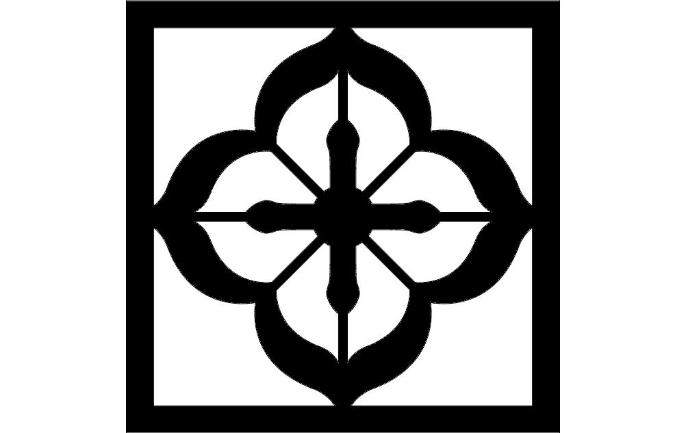 Grille Pattern Flower Free DXF File