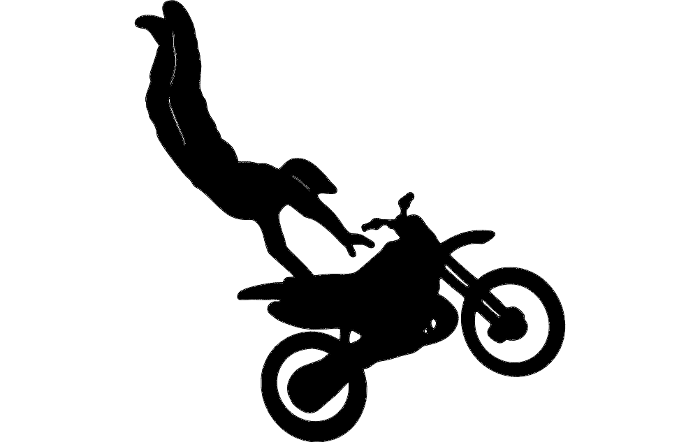 Motorcycle Stunt Silhouette Free DXF File