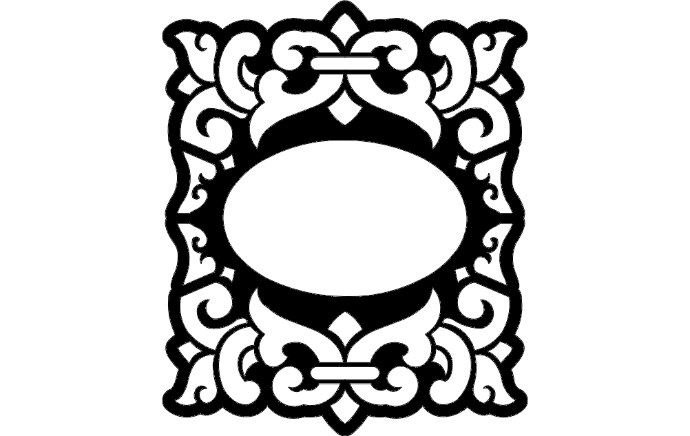 Oval Frame Free DXF File