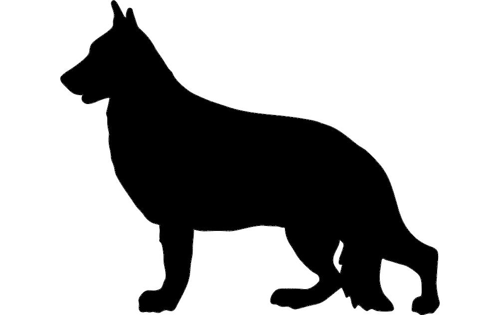 Silhouette German Shepherd Free DXF File