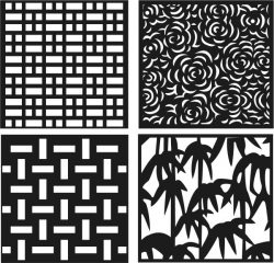 Roses Bamboo Decorative Motifs Square Download For Laser Cut Free DXF File