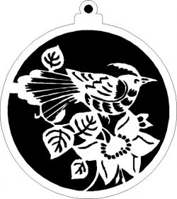Tree Decoration Balls With Crested Birds Free DXF File