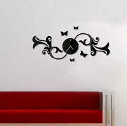 Wall Clock With Butterflies On A Branch Download For Laser Cut Cnc Free DXF File
