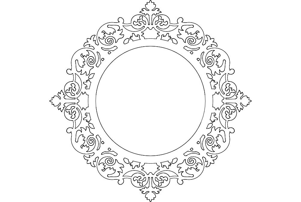 Ayna Mirror Frame Round Free DXF File
