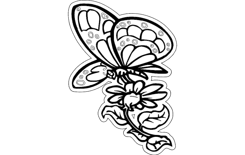 Butterfly With Flower Free DXF File