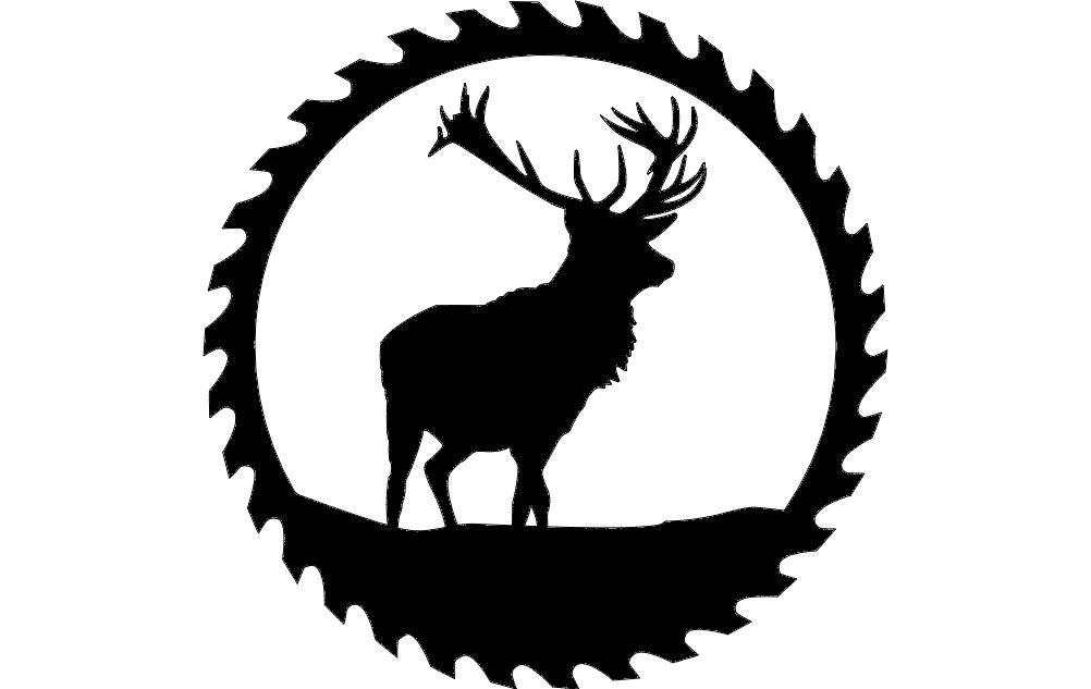 Circular Sawblade Deer Free DXF File