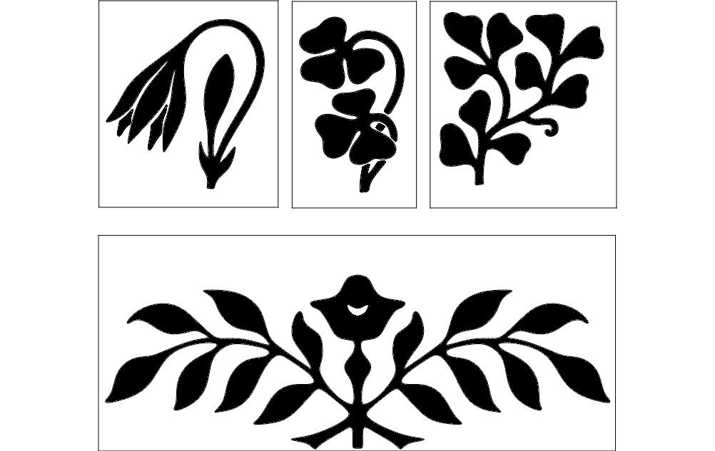 Flower Design Black Free DXF File