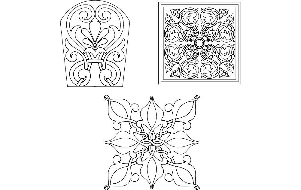 Flower Designs Free DXF File