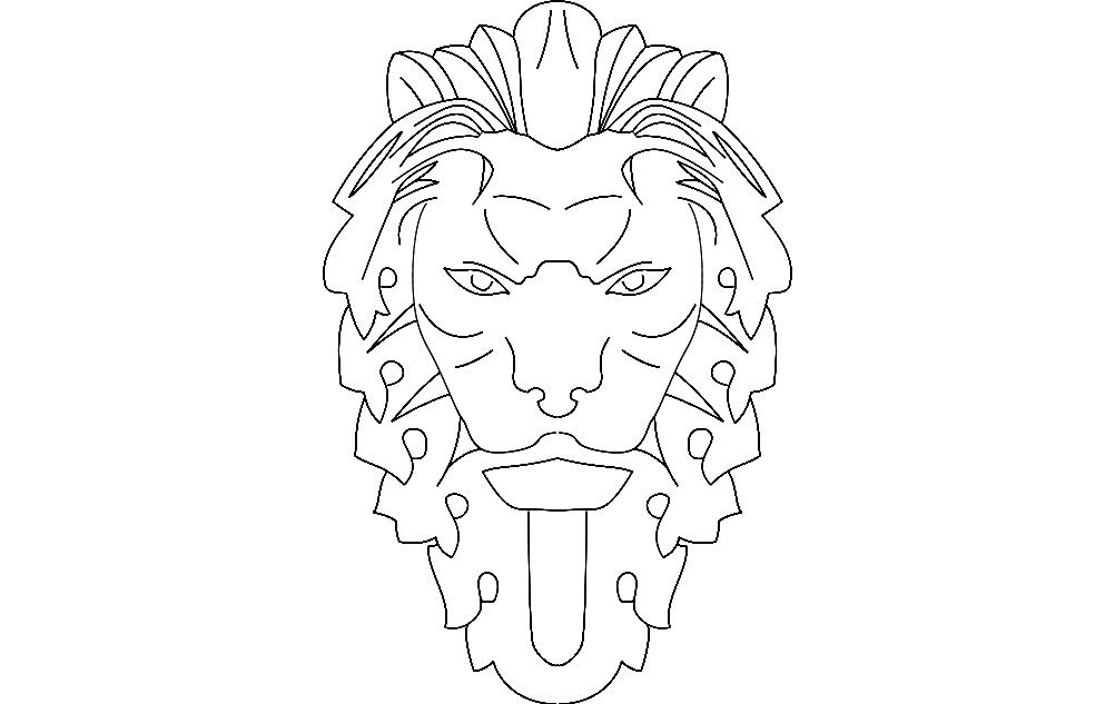 Lion Art Free DXF File