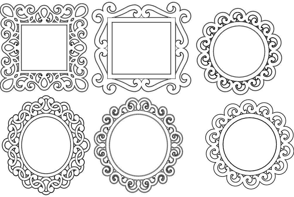 Mirror Frames Free DXF File