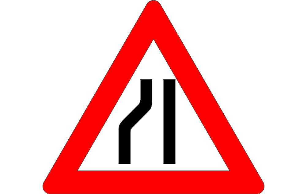 Road Narrow Sign On The Left Free DXF File