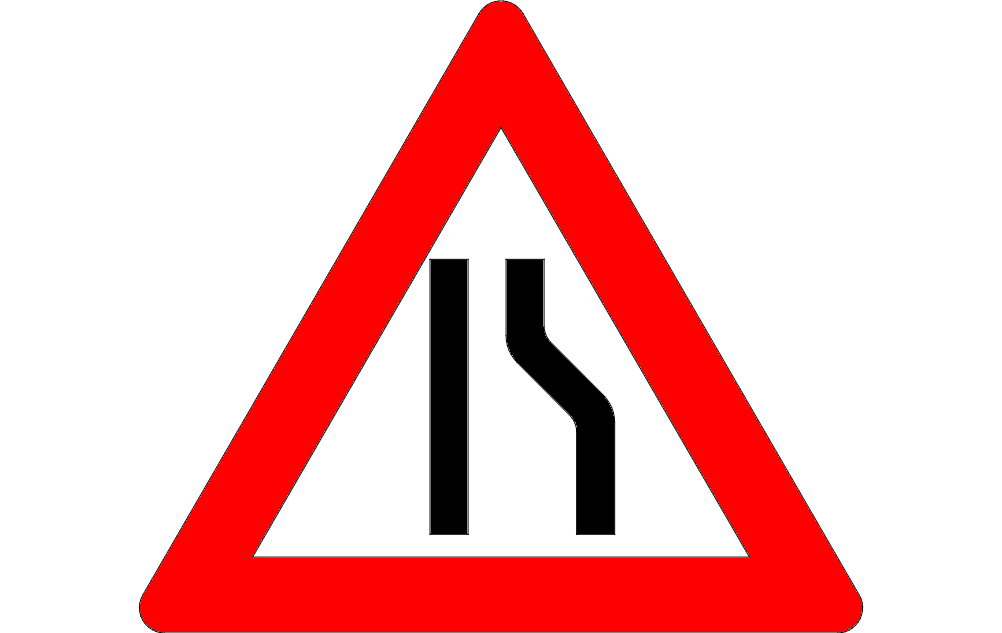 Road Narrow Sign On The Right Free DXF File