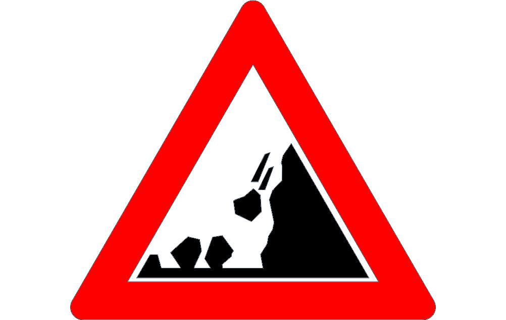 Road Sign Falling Rocks Free DXF File
