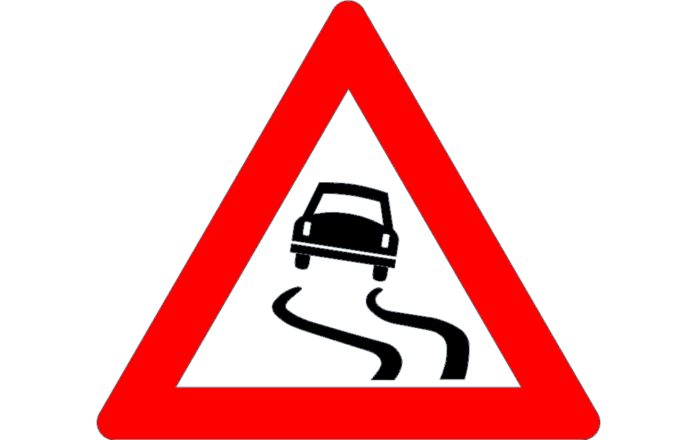 Road Sign Slippery Road Free DXF File