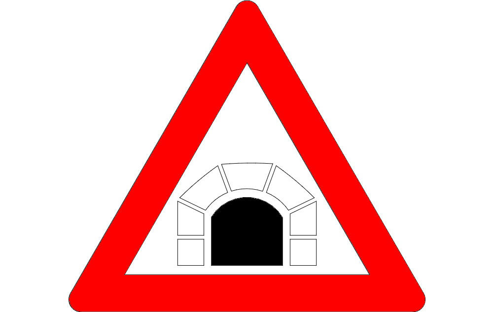 Road Sign Tunnel Ahead Free DXF File