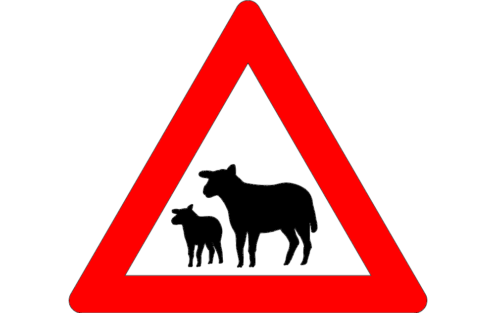 Road Sign Warning Of Sheep On Road Free DXF File