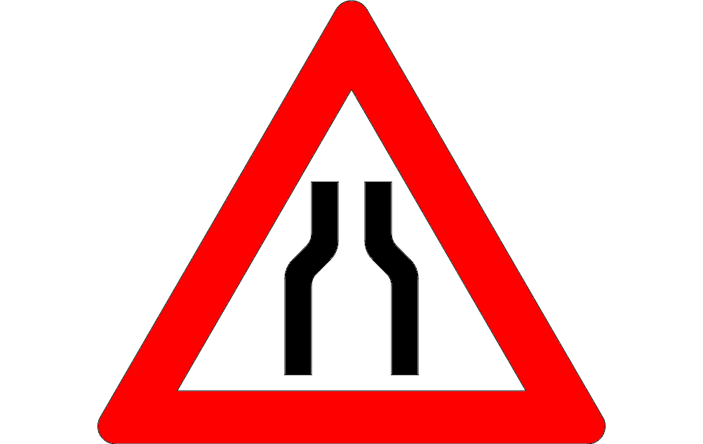 Traffic Narrow Road Sign Free DXF File