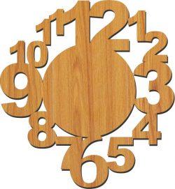 12 Number Wall Clock Download For Laser Cut Plasma Free CDR Vectors Art