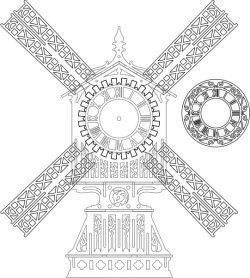 A Tree Clock Designed With A Dutch Windmill Free CDR Vectors Art