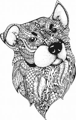 Floral Dog For Laser Engraving Machines  Free DXF File