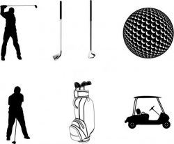 Collection Of Golf Playing Icons Free DXF File