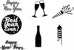 Corel Drawing Design Themed Happy New Year Free DXF File