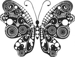 Floral Butterfly For Laser Engraving Machines Free DXF File