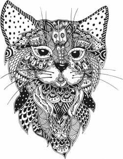 Floral Cat For Laser Cut Plasma Decal Free DXF File