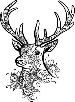 Floral Deer For Laser Engraving Machines Free DXF File