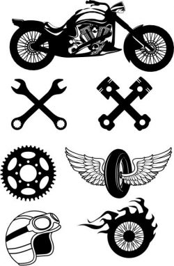 Icons For Those Who Love To Travel On A Motorbike Free DXF File