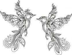 Ornament Birds For Print Or Laser Engraving Machines Free DXF File