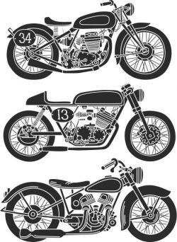 The Old Motorbikes Have Strange Unique Designs Free DXF File