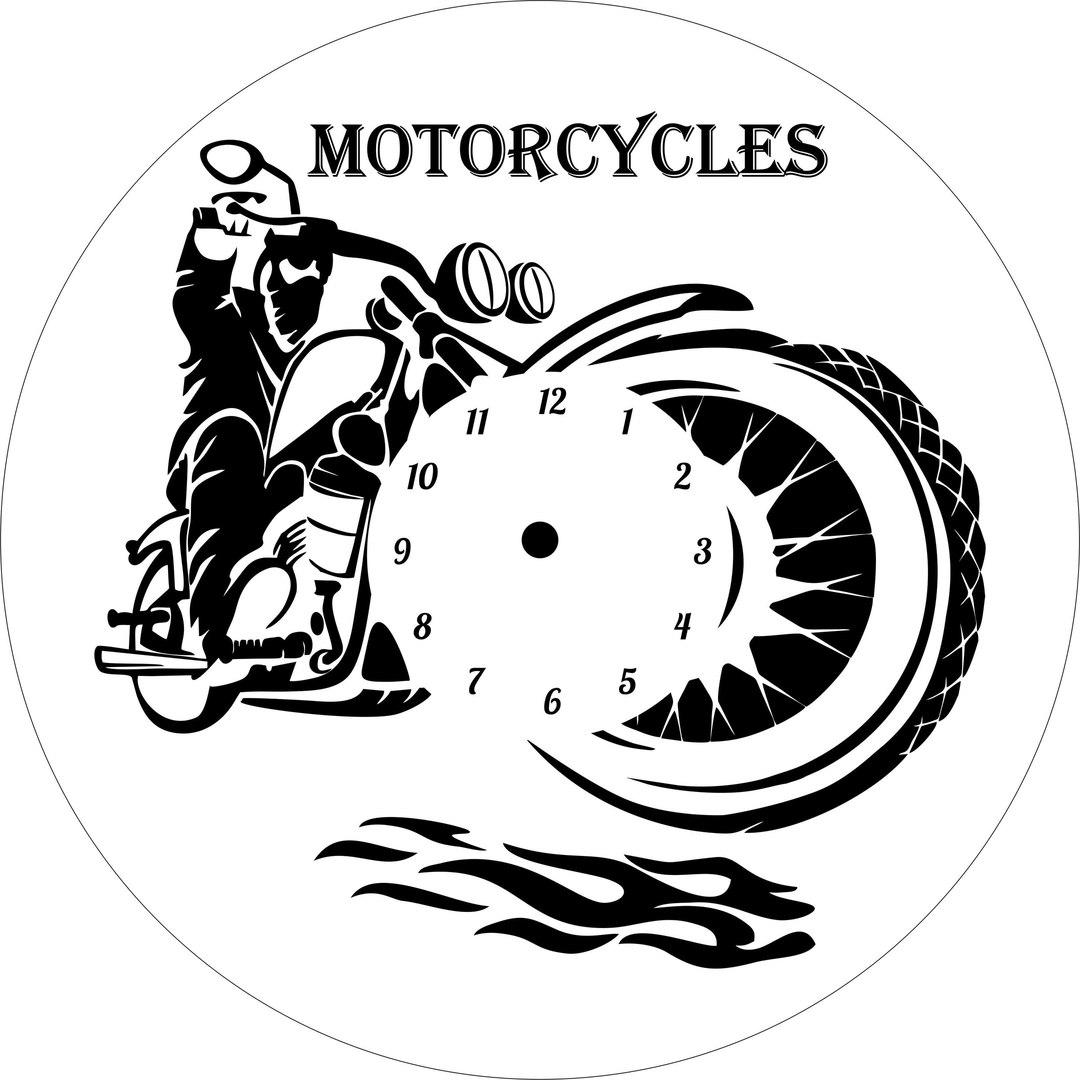 Motorcycle Clock Laser Cut File Free CDR Vectors Art
