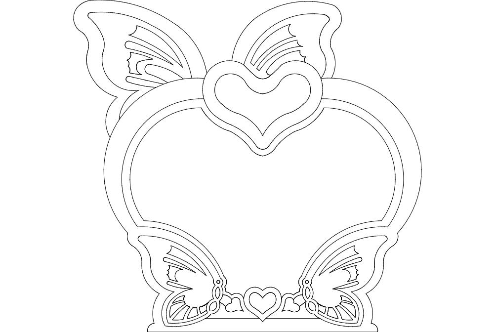 Kelebek Heart Free DXF File