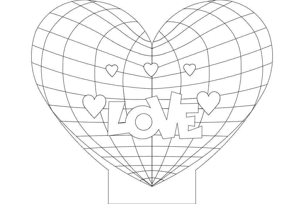 Love And Heart Lamp Free DXF File