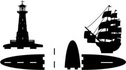 Bookshelves Lighthouse And Ship Free CDR Vectors Art
