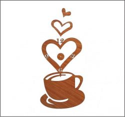 Coffee Clock Download For Laser Free CDR Vectors Art