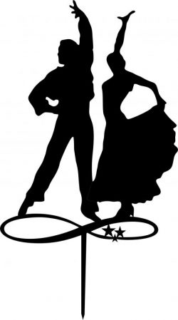 Couple Dancers Silhouette Toppers Laser Cut Free CDR Vectors Art