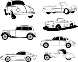 Drawings Of Famous Car Models In History Free CDR Vectors Art