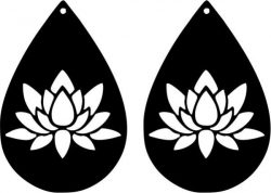 Earring Shaped Teardrop Shaped With Lotus Flower Free CDR Vectors Art