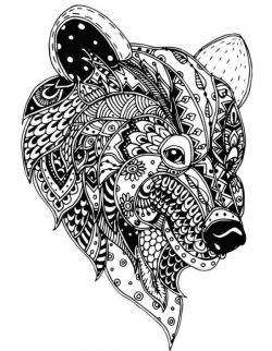 Floral Bear For Print Or Laser Engraving Machines Free CDR Vectors Art