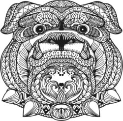 Floral Bulldog For Laser Engraving Machines Free CDR Vectors Art