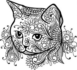 Floral Cat For Laser Engraving Machines Free CDR Vectors Art