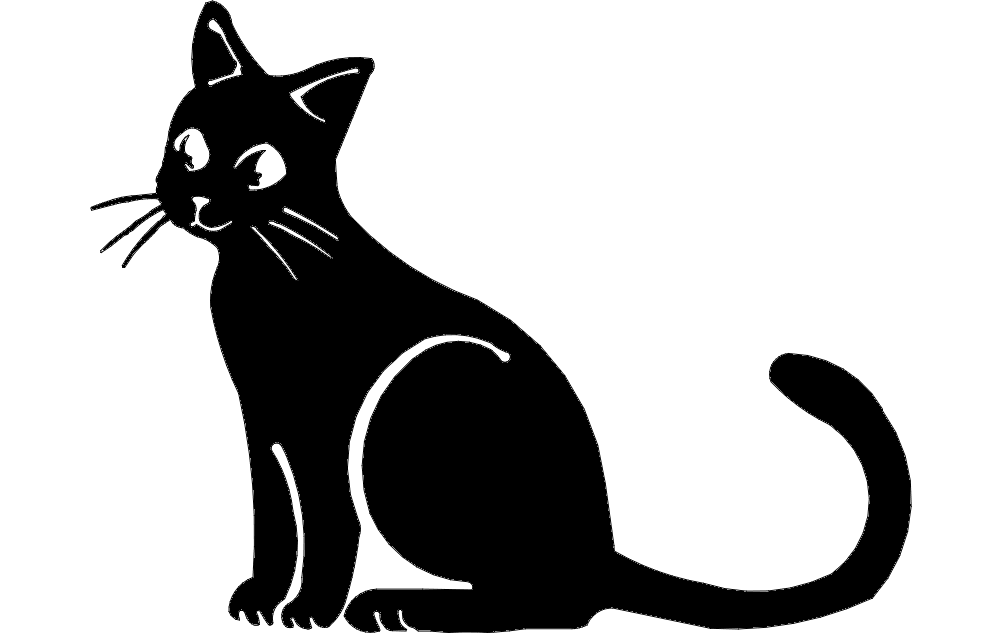 Cat Silhouette Free DXF File