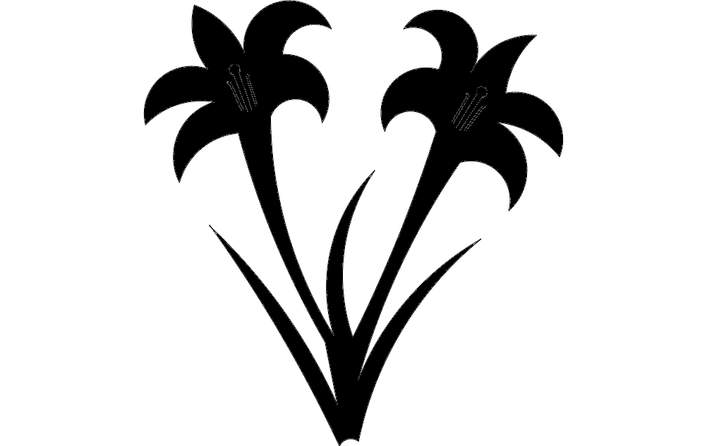 Lillies Flower Free DXF File