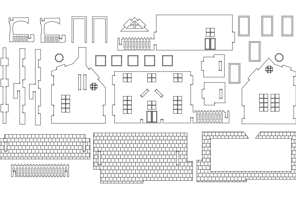 Maket Ev 3mm Puzzle Free DXF File